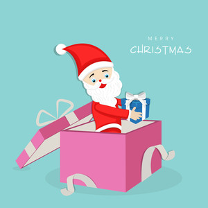 Cute Santa Claus standing in a pink gift box with a gift in his hand for Christmas Day celebration.