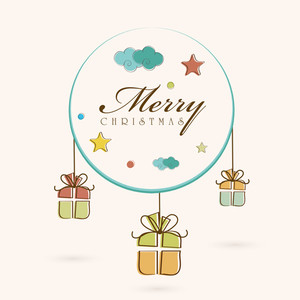 Greeting card or invitation card design for Merry Christmas celebration with stylish text on frame and hanging gift box on beige background.