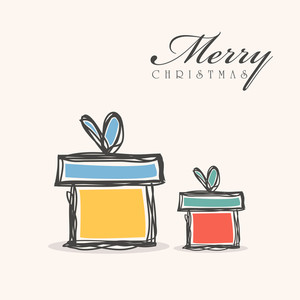 Merry Christmas celebration with gift box and stylish text on beige background.