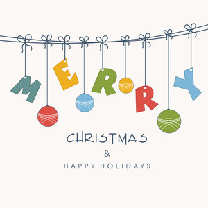 Merry Christmas celebration concept with hanging text and christmas ball on beige background