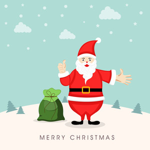 Merry Christmas celebration concept with cartoon of a Santa with gift sack showing thums up on winter background
