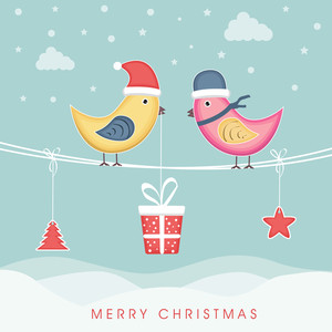 Cute love bird in santa hat standing on rope and christmas objects hanging by rope for Merry Christmas celebration on winter background.