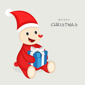 Cute cartoon of a animal in Santa dress with gift box for Merry Christmas celebration on grey background