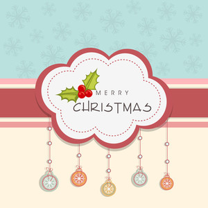 Greeting card or invitation card for Merry Christmas celebration with hanging snowflake and mistletoe