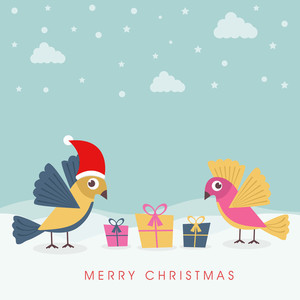Winter Merry Christmas celebration background with gift boxes and love birds in Santa hat on winter background.