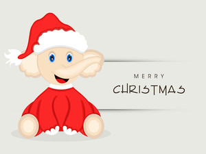 Cute cartoon of a elephant wearing Santa dress for Merry Christmas celebration on grey background.