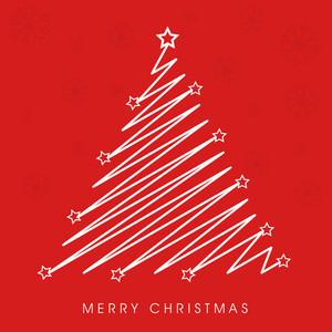 Merry Christmas celebration with creative stylish Xmas tree on snowflake decorated red background.