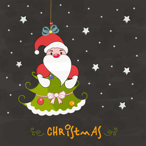 Hanging Santa Claus with Xmas tree for Merry Christmas celebration on stars decorated grey background.