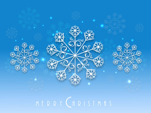 Beautiful poster or banner for Merry Christmas with snowflake on shiny blue background.