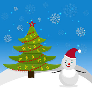 Stars decorated Christmas tree with snowman wearing Santa's cap in snow on blue background with snowflakes.