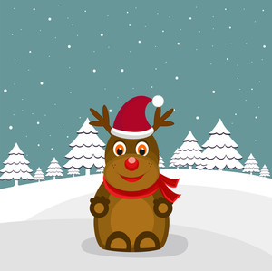 Christmas Day celebration with devil wearing Santa's cap with christmas tree on blue background with snowflakes.