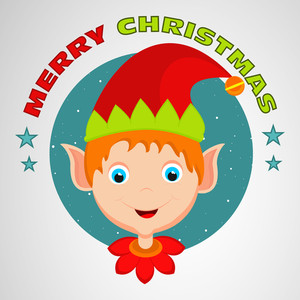 Face of a cute boy cartoon wearing Santa's cap with stylish text Merry Christmas.