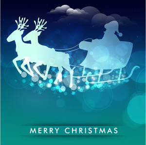 Silhouette of Santa Clause ride on reindeer sleigh in night scene with stylish text Merry Christmas.
