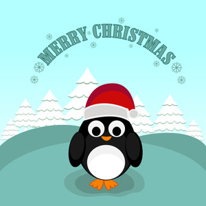 Cute penguine wearing Santa's cap with christmas tree and stylish text Merry Christmas on sky blue background.