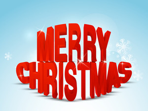 Christmas Day celebration with 3d text of Merry Christmas on sky blue background with snowflakes.