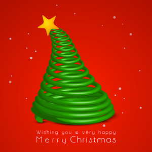 Christmas celebration with stylish wishing text and design of holly tree on red background.