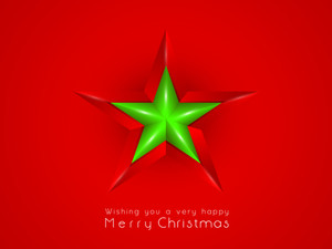 Shining green star with stylish text of Merry Christmas on bright red background.