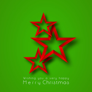 Christmas Day celebration with red stars and stylish text of wishing Merry Christmas on green background.