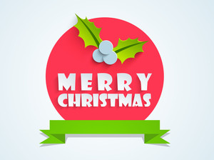 Stylish text of Merry Christmas with green ribbon on light sky blue background.