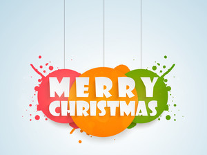 Christmas Day celebration with stylish text of Merry Christmas on sky blue background.