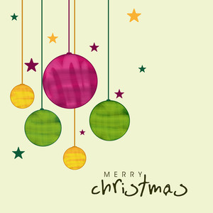 Colorful hanging x-mas ball with for Merry Christmas celebration on beige background
