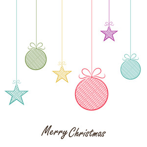 Colorful hanging Xmas Balls and stars for Merry Christmas celebration on white background.