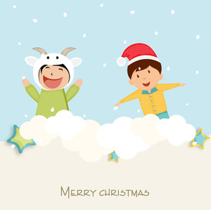 Cute little kids playing with snow for Merry Chrstmas celebration on winter background.