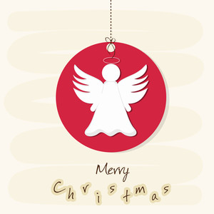 Merry Christmas celebration concept with angel on hanging x-mas ball over beige background.