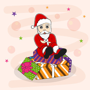 Cartoon of a Santa sitting over gift boxes on stylish background for Christmas and other occasion.