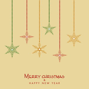 Merry Christmas and Happy New Year celebration with hanging snowflake on beige background.
