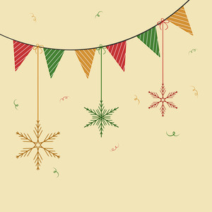 Colorful party flag with hanging snowflake on beige background for Christmas and other occasion.