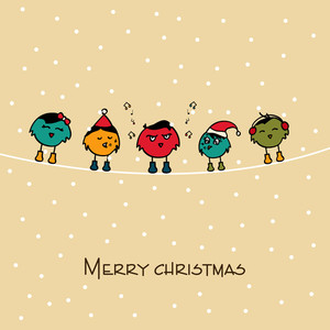 Merry Christmas celebration concept with birds standing on a rope and singing over beige background.