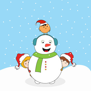Cute smiling snowman with headphone