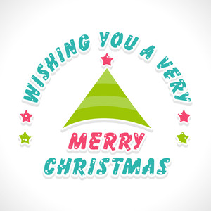 Merry Christmas celebration with stylish wishing text on shiny white background.