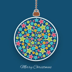 Hanging stars decorated christmas ball with stylish text of Merry Christmas on blue background.