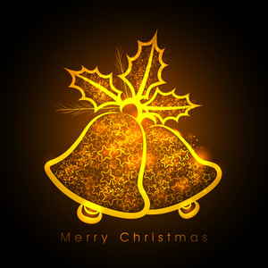 Merry Christmas celebrations greeting card design with stars decorated golden jingle bells on shiny brown background.