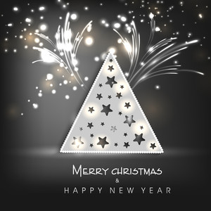 Shiny X-mas Tree in triangle shape on fireworks decorated background for Merry Christmas and Happy New Year celebrations..