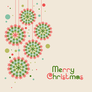 Merry Christmas celebration greeting card design with beautiful hanging Xmas Balls decorated by colorful snowflake.