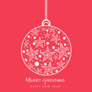 Merry Christmas and Happy New Year 2015 celebration with hanging Xmas Ball decorated by stars and snowflake on red background.