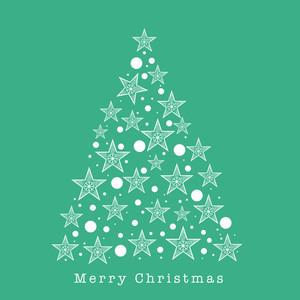 Beautiful Xmas Tree made by stars for Merry Christmas celebration on sea green background.