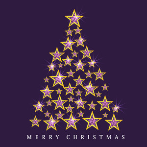Stars decorated shiny Xmas Tree for Merry Chistmas celebration on purple background.