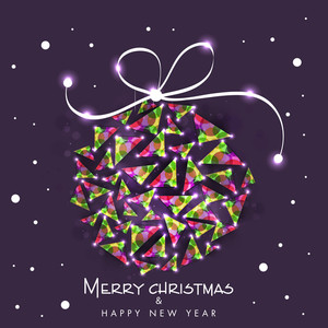 Beautiful creative Xmas Ball for Merry Christmas and Happy New Year celebration on stylish purple background.