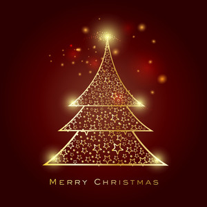 Merry Christmas celebration greeting card design with beautiful shiny Xmas Tree decorated by stars on shiny brown background.