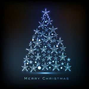 Shiny beautiful Xmas Tree made by stars for Merry Christmas celebration on blue background.