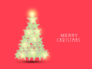 Merry Chrismtas celebration greeting card design with shiny Xmas Tree made by beautiful stars on red background.