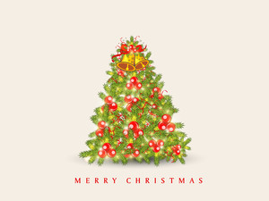 Beautiful Holly Tree decorated by jingle bell and mistlete for Merry Christmas celebration on beige background