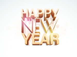 Stylish 3D text of Happy New Year on snowflakes decorated background