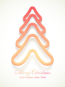 Merry Christmas and Happy New Year celebrations with creative X-mas Tree on white background.