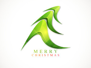 Merry Christmas celebrations greeting card design with creative glossy X-mas Tree on white background.