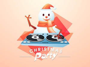 Cute happy snowman in Santa cap and scarf playing music for Christmas party night celebrations on colorful abstract background.